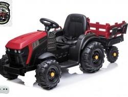 Elektrický farmársky traktor s vlečkou a lopatou