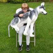 Plyšový pes Husky, výška 80cm