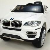 BMW X6 s 2,4G bluetooth DO, EVA kolesami, otváracími dverami, 12V, čalúnenú vyšívanou sedačkou