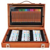 Sada na maľovanie a kreslenie v drevenom kufríku 174ks - XXL
