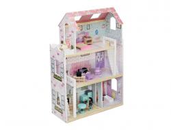 Drevený 3 poschodový domček pre bábiky s nábytkom