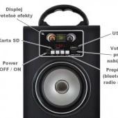 Veľký prenosný reproduktor fm bluetooth sd mp3 rádio