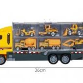 Kamión so 6 stavebnými automobilmi