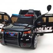 Džíp USA polícia s 2.4G DO, megafónom, policajným osvetlením, EVA kolesami, otváracími dverami, pružením, FM, USB, SD, MP3, volt., Čierny