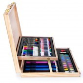 Kreatívna výtvarná sada v drevenom kufríku 108 ks