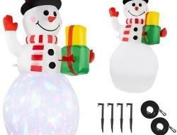 LED osvetlený nafukovací snehuliak - viacfarebný