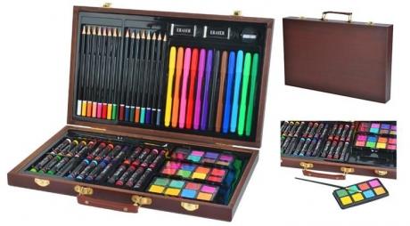Sada na maľovanie a kreslenie v drevenom kufríku 81 ks