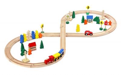 Drevená železničná dráha - 50 dielikov
