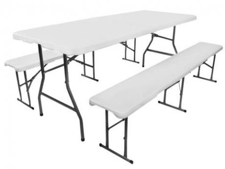 Rozkladací záhradný stôl + 2 lavice