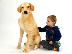 Plyšový sediaci pes Labrador, výška 83 cm