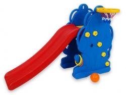 Detská šmýkačka psík s loptovým košom, loptou a krúžkami na hádzanie