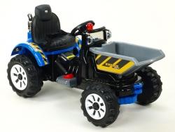 Traktor Kingdom s výklopnou korbou, mohutnými kolesami a konštrukcií, 2x motor 12V, 2x náhon, modrý