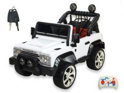 Džíp rover Courage s 2.4G DO, 6 rýchlostí, EVA kolesami, otváracími dverami, voltmetrom, FM, USB, 12V, biely