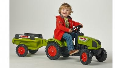 Šlapací traktor Claas Arion 410 s 2 kolesovým prívesom