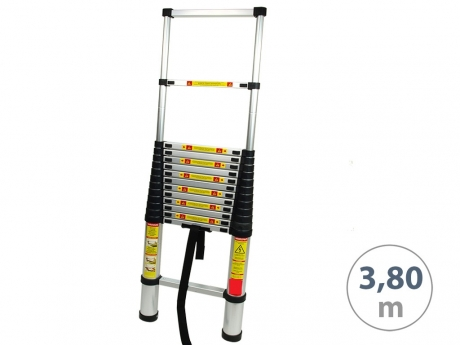 Teleskopický alu rebrík 3,8m s prepravnou taškou 88/380