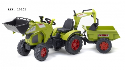 Šlapací traktor Claas Axos 330 s 2 funkčnými lyžicami
