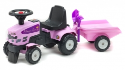 Odrážadlo traktor Baby Princess s 2 kolesovým prívesom