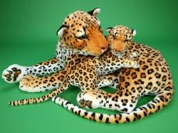 Plyšová leopardí mama s mláďaťom, dĺžka 140/65 cm