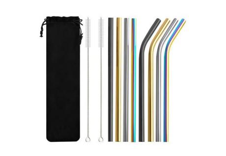 Nerezové farebné slamky 8ks + 2x kefka na čistenie