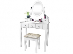 Biely toaletný stolík so stoličkou a zrkadlom