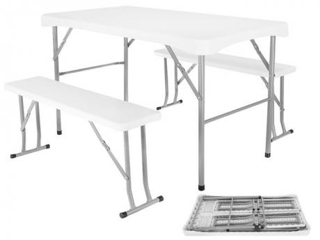 Skladací stôl + 2 x lavica