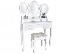 Veľký biely toaletný stolík so stoličkou a zrkadlom