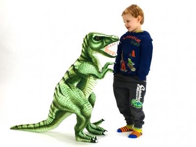 Plyšový stojaci dinosaurus Tyranosaurus Rex, výška 80 cm, dĺžka 128 cm,